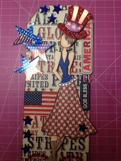 Prima Paper Dolls, Prima Doll Stamps, 4th Of July Fireworks, Fourth Of July, 4th July Crafts, Scrapbook Paper Crafts, Scrapbooking, Junk Art, Handmade Tags