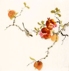 Chinese Pomegranate pomegranate x x Painting. Buy it online from InkDance Chinese Painting Gallery, based in China, and save Chinese Landscape Painting, Japanese Painting, Chinese Painting, Abstract Flowers, Watercolor Flowers, Watercolor Paintings, Japanese Art Styles, Sumi E Painting, China Art