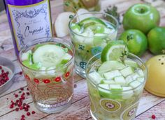 ~ Cucumber & Thyme Sangria ~       1 bottle Cupcake Vineyards Riesling     2 Tablespoons pink peppercorns     10 sprigs Thyme     1 ½ Cups Sugar     1 ½ Cups Water     1 Cup Jicamas, cubed     1 Cucumber, peeled & sliced     1 Granny Smith Apple, cubed     ½ Lime, juiced
