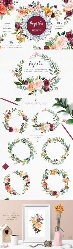 Watercolor Flower Clipart - Paprika. This set of floral elements and design assets is created in a gorgeous palette of burgundy, gold, coral, blush and leafy greens. It works beautifully with gold foil accents. It would work perfectly for wedding stationery, with a rustic style, or for many other design projects including wall art, logo design, branding and marketing material etc.