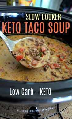This Easy Slow Cooker Keto Taco Soup is Perfect for Fall!You can find Keto soup and more on our website.This Easy Slow Cooker Keto Taco Soup is Perfect for Fall! Cena Keto, Keto Soup, Low Carb Taco Soup, Easy Taco Soup, Low Carb Soups, Taco Soup Recipes, Chicken Recipes, Brothy Soup Recipes, Low Carb Soup Recipes