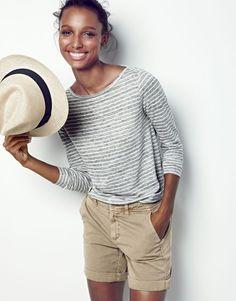 J.Crew women's linen long-sleeve striped T-shirt, Sunday slim chino short and panama hat.