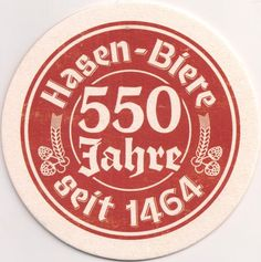 Bierdeckel-Europa-Mitteleuropa-Deutschland-Bayern-Augsburg-Hasen Bräu-550 Jahre
