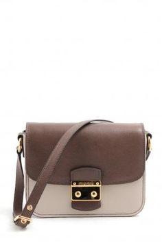8c5dec6a4583 Miu Miu bandoliera talco+bambù bag. Brown and white color leather shoulder  bag.