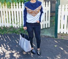 4/29 thrifted sweater,  Forever 21 ankle skinny jeans, Topshop shoes, Prene bag