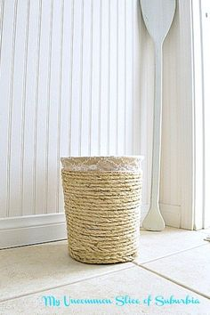 Thrifty Makeover, Nautical Trashcan With Rope
