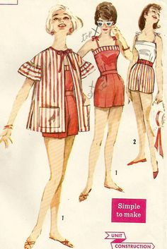 Vintage 60s Simplicity 3427 UNCUT Junior Miss Ruffle Sleeve Beach Coat, 2 PC Beach Romper or Playsuit Sewing Pattern Size 11 Bust 31.5
