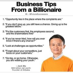 Important tips for your business by Jack Ma Business Motivation, Business Quotes, Gym Motivation, Motivational Quotes For Success, Inspirational Quotes, Best Quotes, Life Quotes, Financial Quotes, Leadership