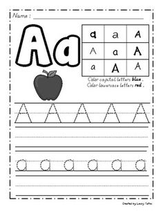 """Handwriting Galore freebie--  I like that it also shows the """"fancy"""" forms of the letter in the corner so I can discuss it with the students.  :)"""