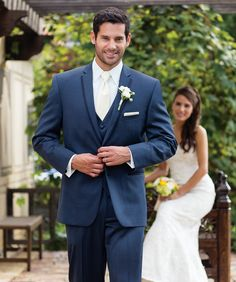 6cc9fac4770 Slate Blue Allure Suit- he could be your  something blue  on your wedding.  Blue Tuxedo ...