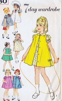 1960s Girls A Line Summer Dress Vintage Sewing Pattern, and Sleeveless Coat, Simplicity 4380 size 4