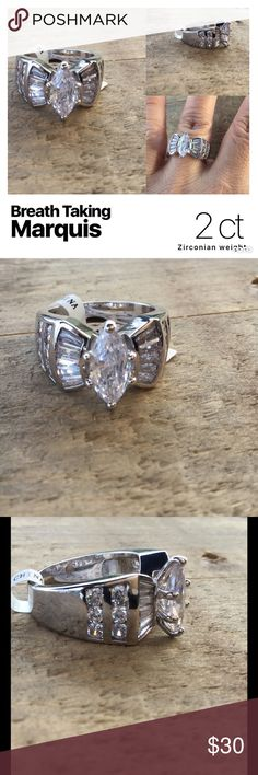 Wedding/Cocktail ring Wow! This ring is so awesome. Rhodium plated. Nickel and lead free. Great cut and clarity. I wear this style of ring all the time and people always compliment me. Approximately 2KT Total stone weight Jewelry Rings