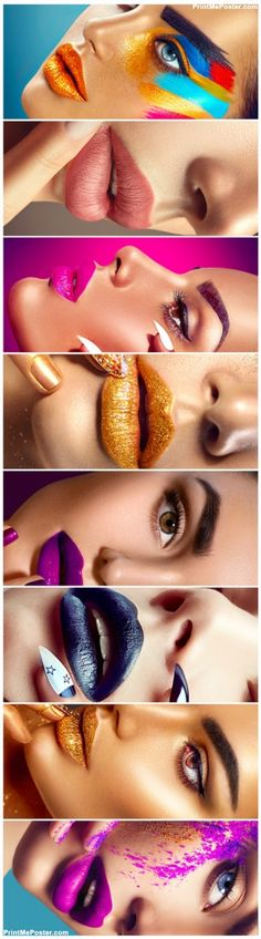 Poster Of High Fashion Model Make Up Collage Beauty Makeup Artist Ideas Colorful Lips