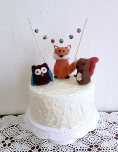 Woodland Animal Cake Topper Birthday Baby Shower Fox Owl and Squirrel with Acorn Garland