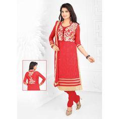Red Georgette Designer #Churidar Kameez With Dupatta #Salwar #Dress