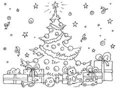 Christmas Tree coloring page. Find more free Christmas coloring pages here... http://www.coloringpages4u.com/christmas_coloringpages
