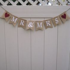 Natural Burlap Wedding Mr & Mrs bunting L193 by Hartranftdesign