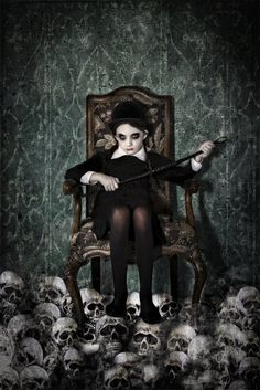 Queen of Skulls Halloween Gothic rider by SpokeninRed Wednesday Addams style fashion photo art to love to death