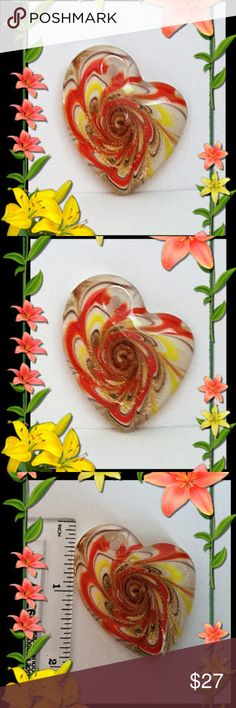 Glass Heart Pendant from Italy *Murano handmade glass heart pendant from Italy. Orange - Yellow - Brown - Gold - Clear swirled together by hand. - very rare artform. Murano Jewelry