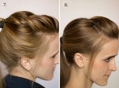 Like the twist! Section off, back comb a bit, twist (or braid) then gather into ponytail!