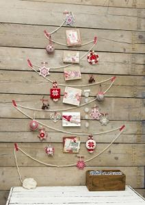 A blank wall, some thick string, a selection of cards and baubles and voila!
