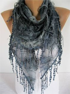 Elegant  Dark Bluer Scarf  Cowl with Lace Edge by MebaDesign, $17.90