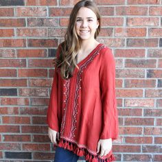 Solid Tunic with Embroidery and Fringe  #southerncharmshops #mystyle #trendy #fashion #boutiquestyle