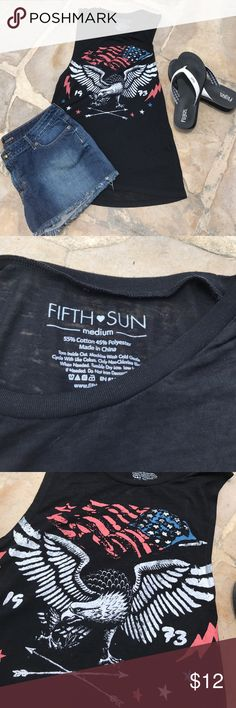 🇺🇸Fifth Sun Burnout Tee Fifth Sun Burnout Muscle Tee with factory distressed flag & Eagle. The armholes are oversized so use as swim suit cover or wear bralette. EUC Fifth Sun Tops