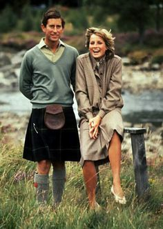 Young Prince Charles and Diana: a kilt worn well.