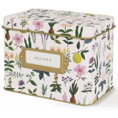 Rifle Paper Herb Garden Recipe Tin Waiting On Martha ($36) ❤ liked on Polyvore featuring home, kitchen & dining, cookbooks and rifle paper co recipe box