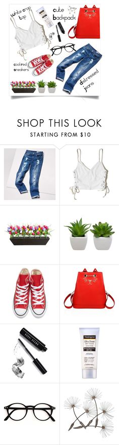 """Distressed fashion"" by kristipotter ❤ liked on Polyvore featuring Tommy Hilfiger, Hollister Co., Improvements, Converse, Charlotte Olympia, Bobbi Brown Cosmetics and Neutrogena"