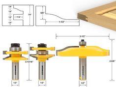 3 Pc. Rail & Stile and Panel Raiser Router Bit Set - Large Ogee - Yonico 12337