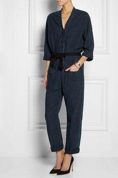Étoile Isabel Marant|Tadia belted cotton-chambray jumpsuit|NET-A-PORTER.COM