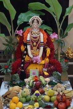 Gauri Decoration, Mandir Decoration, Thali Decoration Ideas, Diwali Decorations, Indian Wedding Decorations, Festival Decorations, Ganpati Decoration Design, Hanuman Pics, Diwali Pooja