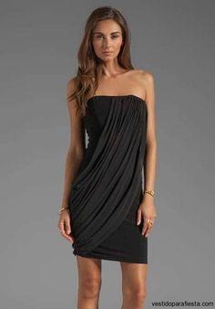 Vestidos cortos de fiesta drapeados color negro 2014 - https://vestidoparafiesta.com/vestidos-cortos-de-fiesta-drapeados-color-negro-2014/