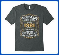Mens Vintage Born in 1981 36th Birthday T-Shirt 36 Years Old XL Dark Heather - Birthday shirts (*Amazon Partner-Link)