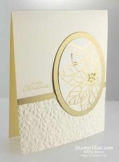 handmade Christmas card ... white and mat gold ... partial gold embossed poinsettia in an oval layered in gold ... bottom  card section embossed with the poinsettia all-over embossing folder ... elegantly beautiful ... Stampin' Up!