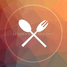 Fork and spoon low poly icon. Fork and spoon website button. Royalty free icon for web design available in various sizes. High resolution and quality