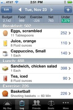 Lose It! app  User friendly way to keep track of your food and exercise.  Simply scan the bar code on any food you eat or make your own foods/meals.