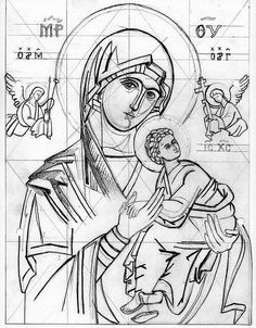 Drawing of the Virgin of the Passion aka Our Lady of Perpetual Help. Religious Images, Religious Icons, Religious Art, Byzantine Icons, Byzantine Art, Line Drawing, Painting & Drawing, Writing Icon, Russian Icons