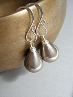 Earrings - sterling silver, south sea shell pearl, teardrop, hand forged ear wires - Chinchilla $29.