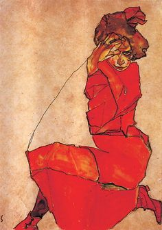 Kneeling girl in a red dress - Egon Schiele