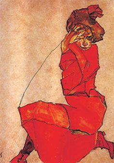 Kneeling girl in a red dress egon schiele