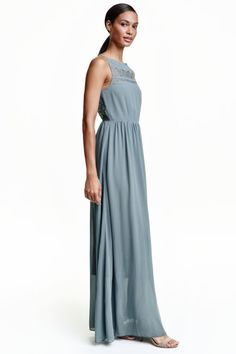 Chiffon maxi dress with lace