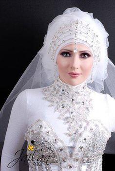 I love tiss Bridal Hijab, Hijab Bride, Bride Groom Dress, Applique Wedding Dress, Lace Mermaid Wedding Dress, Grecian Wedding, Wedding Gowns, Blush Evening Gown, Muslimah Wedding