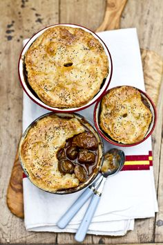 "Beef, Guinness and Mushroom Pot Pie... and just listen to how adorably British the author of this blog is:  ""Winter is not over yet. Before we go a little too crazy with health kicks after holiday excesses, lets make a few more stews, pies and mash.""  Amen to that!"