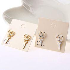 2015 New Hot Retro fashion personality earrings female small scissors hot jewelry