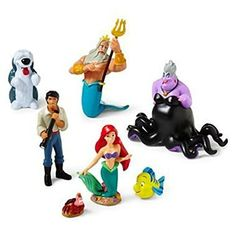 Disney The Little Mermaid Figure Play Set - Disney Little Mermaid Princess Ariel Figurine Cake Toppers Decorative Play Set: Pretty mermaid Ariel and her friends are looking for a fun place to make some waves in a genuine Disney figure set