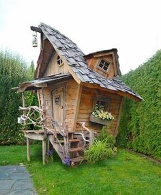 Amazing Shed Plans - cabane de jardin a faire - Now You Can Build ANY Shed In A Weekend Even If You've Zero Woodworking Experience! Start building amazing sheds the easier way with a collection of shed plans! Fairy Houses, Play Houses, Shed Conversion Ideas, Crooked House, She Sheds, Outdoor Living, Outdoor Decor, Shed Plans, Little Houses