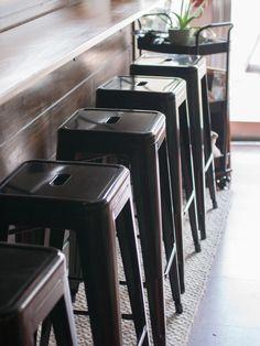 CAFETERIA STOOLS // Black Metal Tolix Bar Stools